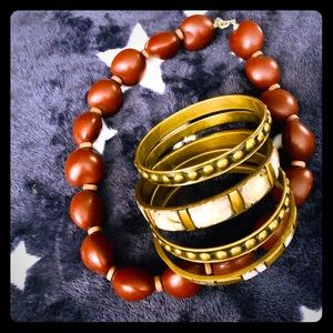 Hawaii style necklace and bangle set